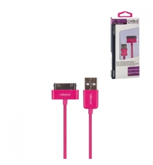 Cabo USB 2.0 para iPhone/iPad 4 magenta 1mt