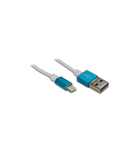 Cabo USB 2.0 Lightning para iPhone/iPad 5 Azul 1mt