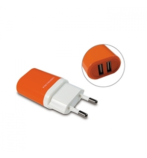Carregador dual USB 230VAC/5VDC 2A 10W Laranja