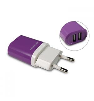 Carregador dual USB 230VAC/5VDC 2A 10W Lilas