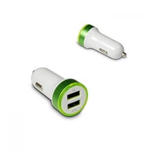 Carregador dual de isqueiro auto USB (5V 2,1Amp 10,5W) Verde