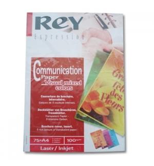 Papel  Laser Inkjet Rey 5 Cores Flourescentes A4 100gr 375Fs