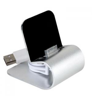 Carregador USB iPhone/iPod 30 Pinos com Suporte Metálico