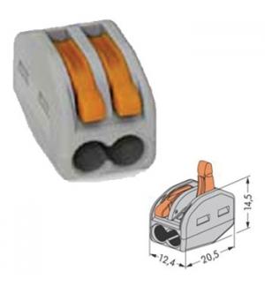 Borne WAGO 2x0.08-4mm p/ condutores flexíveis/rígidos cinza