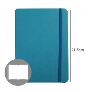Bloco Notas Liso 21,5x14,5cm Semi Pele Azul Turquesa 116F