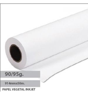 Papel Vegetal InkJet 90/95gr 914mmx50mtsx50 Pack 1 Rolo