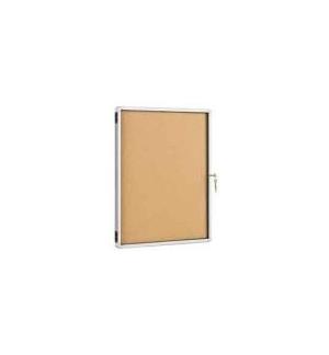Vitrine Aluminio de Parede 67x50cm Fundo Corticite c/Porta