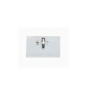 Porta Nomes Horizontal c/Mola+Alfinete 75x40mm Pack 50un