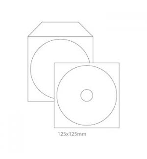 Envelopes Papel c/Janela 125x125mm p/CD/DVD Pack50un-Branco