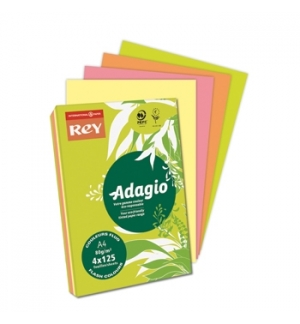 Papel Fotocopia Adagio A4 80gr Cores Fluor 4x125Folhas