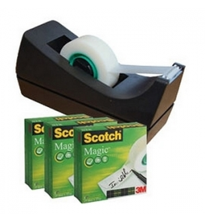 Fita Adesiva 19mmx33m Scotch Magic 3 Rolos Dispensador