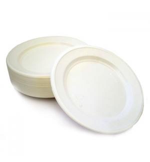 Pratos Plástico Raso Refeição Branco F15/F25 205mm 100un