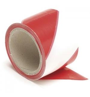 Fita Não Adesiva Sinalização Branco/Vermelho 80mmx100mts