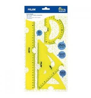 Conjunto Desenho Reguas Flexiveis Milan Amarelo 4 Peças