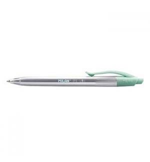 Esferografica Milan P1 Silver / Verde Escrita Azul - 1un