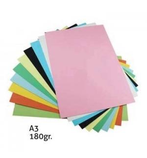 Cartolina 180gr 50 Folhas A3  5 Cores Fortes Sortidas