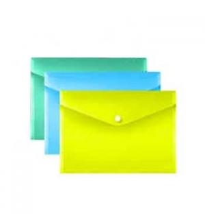 Envelope Plastico A4 Fecho Botao Cores Sortidas - Pack 3un