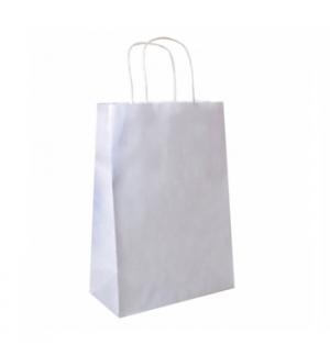Saco Papel Branco 26+14x32cm c/Asa - 1un