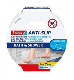 Fita Adesiva Tesa Anti-Derrapante Banho 25mmx5mts Transp