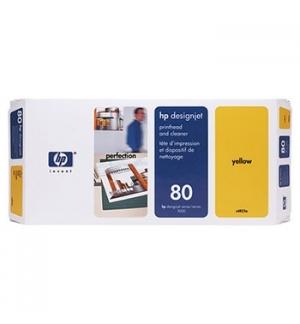 Cabeça Impressão + Kit Limpeza HP 80 Amarelo C4823A 17ml