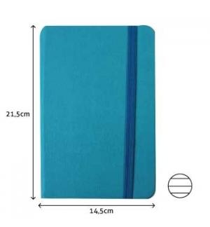 Bloco Notas Pautado 21,5x14,5cm Semi Pele Azul Turque 116Fls