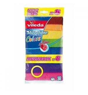Panos Microfibras 30x30cm 8 Cores Sortido Vileda 8un