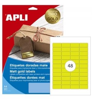 Etiquetas 45,7x21,2mm Apli  Dourado 20 Folhas A4 960un