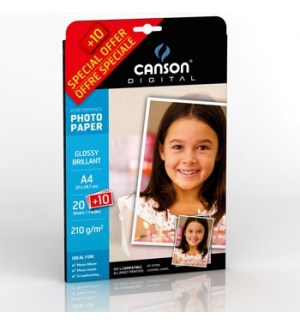 Papel 210gr Pack Promo Fotog Canson Perform Gloss  A4 20+10F