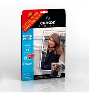 Papel 210gr Pack Promo Fotog Canson Perform Satin  A4 20+10F