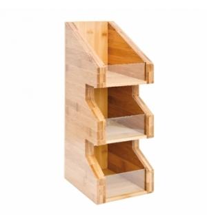 Organizador Copos / Tampas / Palhinhas Bambu 15x18x40cm