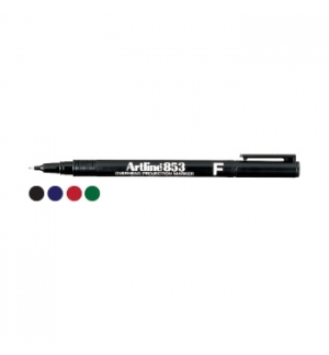 Marcador Perm. Fino (CD/Acetatos) Artline 853 Verde-Cx12un