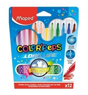 Marcador Feltro Color Peps Maped 12 Cores