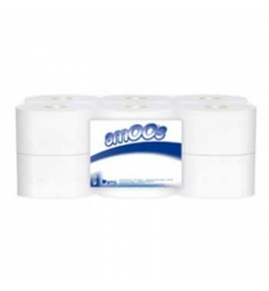 Papel Higienico (Jumbo) 180mts 2Fls Amos-12un