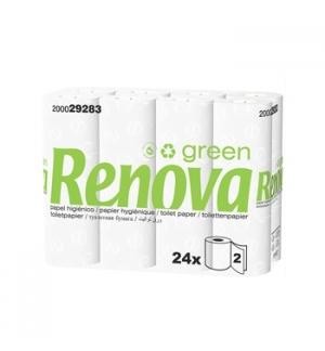 Papel Higienico Domestico 16,5mts 2Fls RenovaGreen -24x4 96