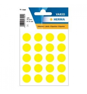 Etiquetas Redondas 19mm Amarelo Herma1884 100un