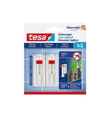 Prego Adesivo Tesa Powerstrips 3Kg Superfícies Lisas 2un