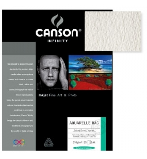 Papel Canson Infinity Aquarelle Rag A4 100% 310gr 25Fls