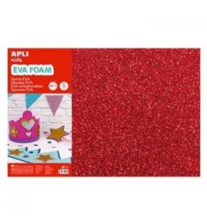 Placa de Cor Musgami 40x60cm 2mm c/ Purpurinas Vermelho 3Fls