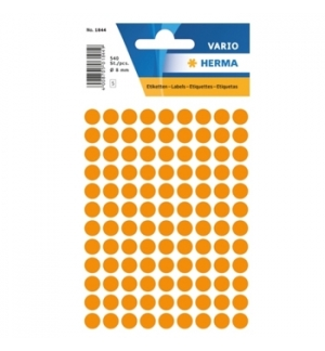 Etiquetas Redondas 08mm Laranja Fluorescente Herma1844 540un