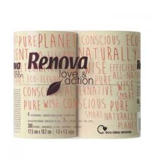 Papel Higienico Domestico 12,5x10.2cm Renova Love&Action 4un
