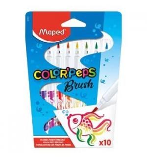 Marcador Feltro Color Peps Brush Maped 10 Cores