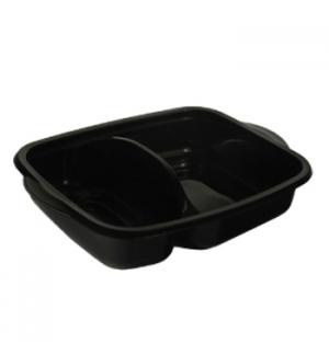 Caixa Alimentar PP p/Microondas Preta Rectagular 950ml 50un