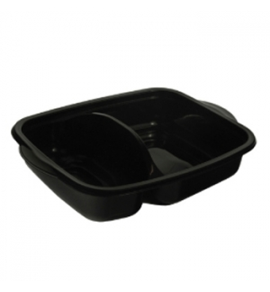 Caixa Alimentar PP Microondas Retangular Preto 950ml 50un