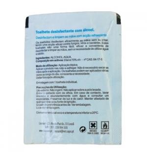 Saqueta Toalhete Desinf c/Alcool Maos e Equip 11x21cm 500un