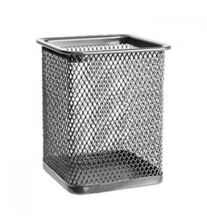 Porta lapis em rede metalica quadrado Prata