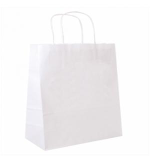 Saco Papel Branco 32+16x31cm c/Asa - 1un