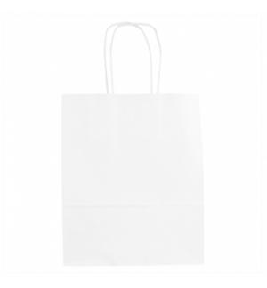 Saco Papel Branco 18+8x21,5cm c/Asa - 1un