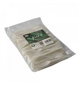 Garfo Biodegradável C-PLA 2em1 Serrilha Branco 13,5cm 100un