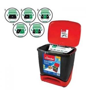 Contentor c/Pedal Ecologico Vileda 39 Litros Preto/Vermelho