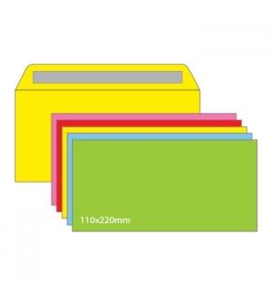 Envelopes 110X220mm s/Janela Cores Sort Fortes Pack 25un